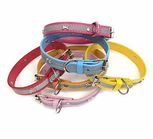 Dog Collar Puppy Pet Adjustable with Reflective Safety Stripe. 4 Colours.