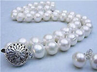 """New 8-9MM Real Natural White Akoya Cultured Pearl necklace earring set 18"""""""
