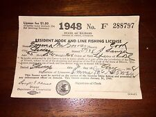 Two 1948 Paper Fishing License From Illinois Emma & James Mcgowan