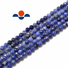 """Natural Sodalite Faceted Round Beads 3mm 4mm 5mm 15.5"""" Strand"""