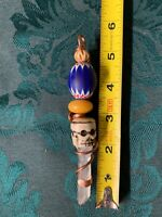 Huge old rare Crystal,bone Skull, Trade bead Copper Pendant Wand Pendulum