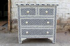 Handmade Bone Inlay Eye Design Dresser Chest of 4 Drawers Sideboard Blue