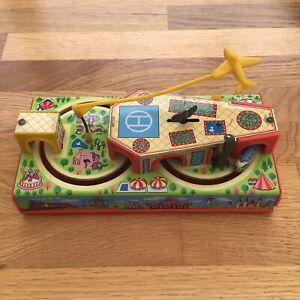 Vintage Tin Plate Toy by YONE No 2186 Wind Up Mechanical Plane Train Car Set