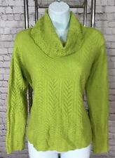 S Terryl 100% Cashmere Green Cowl Neck Pointelle Sweater Turtleneck Exc
