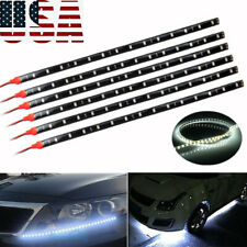 6Pcs White 1Ft/15 LED Car Motors Truck Bike Flexible Strip Light Waterproof 12V