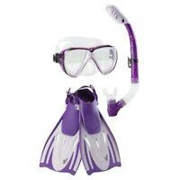 Speedo Dive Set Hydroscope Mask Snorkel Fins Adult Large / XL Purple New in Bag