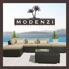 MODENZI 6PC Outdoor Rattan Wicker Sectional Patio Furniture Sofa Set Chairs Lbei