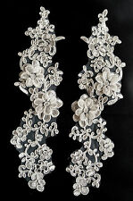 One Pair 3D Bridal White Floral Embroidery Appliques Motifs Lace Trim -(EB0007)