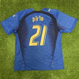 2006 2007 Italy Italia Pirlo Jersey Shirt Kit Blue Puma Home Large L World Cup