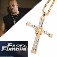 Gold Fast and Furious Movie Dominic Toretto's  Cross Necklace Pendant Chain Gift