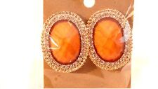 CLIP-ON EARRINGS FAUX CRYSTAL CLIP EARRINGS ASSORTED COLORS 1.25 inch OVAL