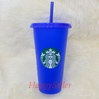 Starbucks Tumbler Color Changing Cold Cup Blue Reusable 2020 24oz HOT! RARE! NEW