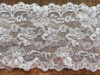 """laverslace Pale Pastel Baby Blue Floral Wide Stretch Tulle Lace Trim 8/""""//20 cm"""