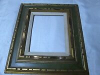 Vtg LARGE Hand-CARVED WOOD GREEN GOLD Picture Fame 16 x 18-Linen insert-Heavy