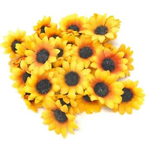 Sunflower 35mm Mini Daisy Decorative Synthetic Flowers (Faux Silk) - UK SELLER