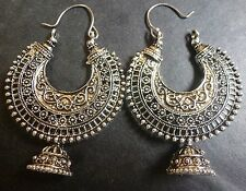 Sale........Vintage Antique Silver Plated Chand Bali Half Circle Indian Earrings
