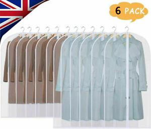 6 Pack Set Zip Polythene Garment Covers Suit Dress Clear Dust Proof Protector UK