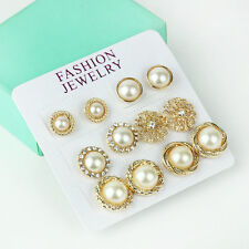 12pcs Luxury Gold Plated Pearls Rhinestone Crystal Flower Ear Studs Earring