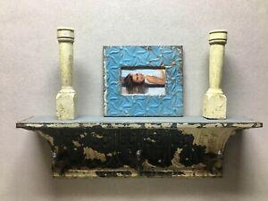 Architectural Destressed Embossed Reclaimed Tin Mantle Hooks Shelf 1340-20B