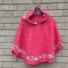 United Colors Of Benetton Cable Knit Hooded Poncho Red 6-9 years