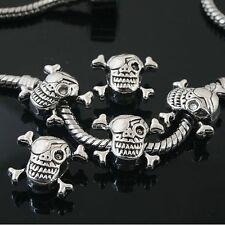 10pcs Tibetan Silver skull spacer Beads Fit European Bracelet l0109