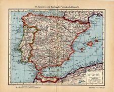 Antique map Spain and Portugal  1935