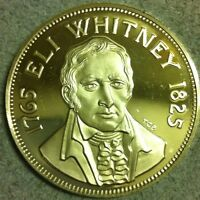 RARE 1974 ELI WHITNEY COTTON GIN STERLING SILVER Art Round COIN. 25.3 GRAMS