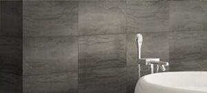 Sample Vitra Ethereal Dark Grey Stone Effect Bathroom Wall Tile  60 x 30