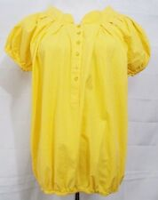 POP Population Top Blouson Short Sleeve Peasant Style Yellow Blouse size 6 VTG
