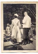 WWI Outdoor Clinic Back View Dr Babbitt Nurse Satterthwaite Med Bag FRANCE Photo