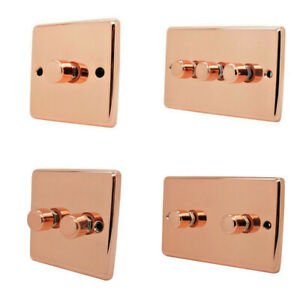 Bright Shiny Polished Copper Dimmers - Dimmer Switches for Light Bulbs & Halogen
