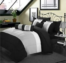 10-piece Comforter Bed in a Bag Set Sheet Bedroom Bedding King Size Black Gray