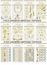 5 X Surtido Tatuaje Temporal Metálico Plata Oro Anillo Collar Pulsera De Flash