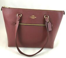 New Authentic Coach F79608 Gallery Tote  Handbag Purse Leather Wine Red