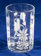 VINTAGE FLANNEL FLOWER PARTY GLASS TUMBLER WHITE PRINT