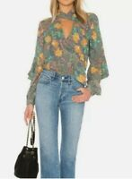 NWT BCBG MAXAZRIA Womens Jade Floral Long Sleeve Tie Neck Blouse Top Size M $228