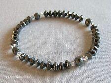 Ematite pietre preziose Bicono Perle Stretch Bracciale con cristalli SWAROVSKI Rainbow