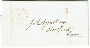 """1848 Boston & Albany R.R. (railroad) cancel in red on cover, """"5"""" hanstamp"""