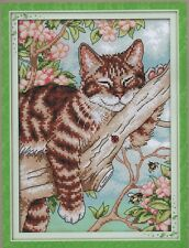 Counted Cross Stitch Kit, Lazy Cat In The Tree