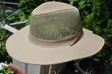 Fisherman Cowboy Crushable Wide Brim Hiking Mesh Hat Sun Cap Vented Khaki S/M