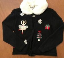 Hartstrings Girls Size 4T Black Holiday Cardigan Removeable Faux Fur Collar EUC