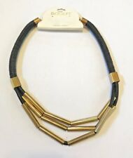 Bogot Black Rope Gold Brass Colored Necklace Ethnic Style Art Deco Chunky