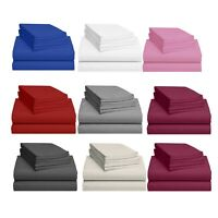 Egyptian Cotton Fitted Sheets Flat Sheet 200TC Luxury Single Double Super King
