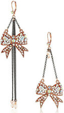 Betsey Johnson CRITTER BOOST Bow Rose-Gold Two-Tone Mismatch Swag Earrings NWT