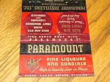 PARAMOUNT DISTILLERS CLEVELAND OHIO MATCH BOOK COVER FINE LIQUEURS AND CORDIALS