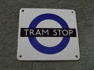 Tram Stop Metal Enamel Sign London Transport Underground Miniature Repro Plate