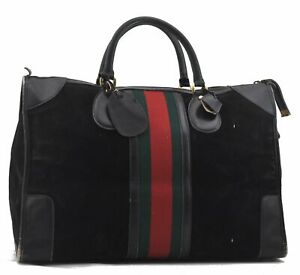 Authentic GUCCI Web Sherry Line Travel Boston Bag Suede Leather Black D3925