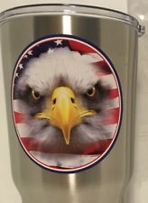 Patriotic Stainless Steel Tumbler W/ Lid And Two Straws Wi/Brush Cleaners 30 Oz