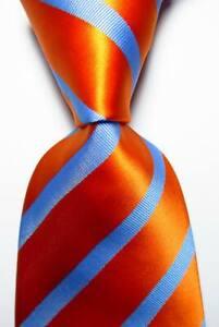 New Classic Striped Blue Orange JACQUARD WOVEN Silk Men's Tie Necktie