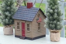 HAROLD TURPIN AMERICAN FOLK ART PRIMITIVE STYLE COTTAGE WITH WOODEN FLAGS